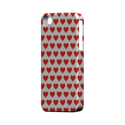 Red Hearts on White Geeks Designer Line Heart Series Matte Hard Case for Apple iPhone 4/4S