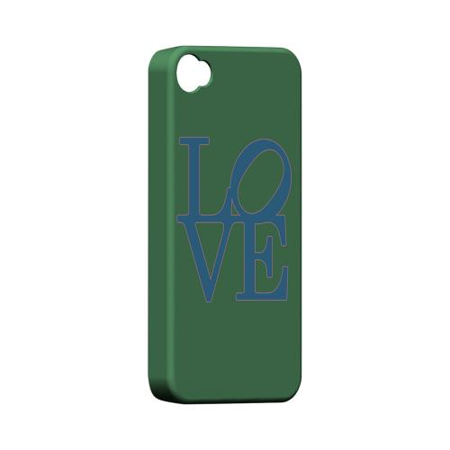 Blue Love on Green Geeks Designer Line Heart Series Matte Hard Case for Apple iPhone 4/4S1