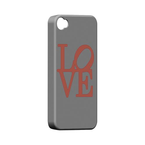 Pink Love on Gray Geeks Designer Line Heart Series Matte Hard Case for Apple iPhone 4/4S