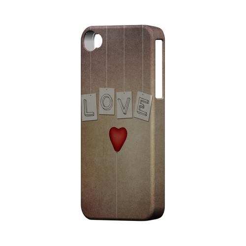 Love & Heart Balloon Geeks Designer Line Heart Series Matte Hard Case for Apple iPhone 4/4S