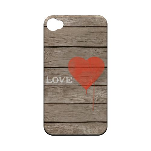 Rustic Love Geeks Designer Line Heart Series Matte Hard Case for Apple iPhone 4/4S