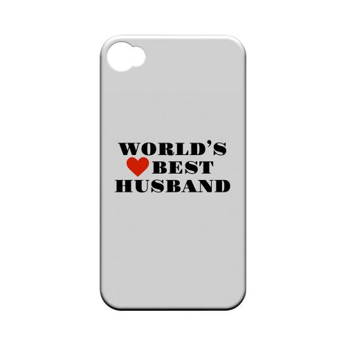 World's Best Husband Geeks Designer Line Heart Series Matte Hard Case for Apple iPhone 4/4S