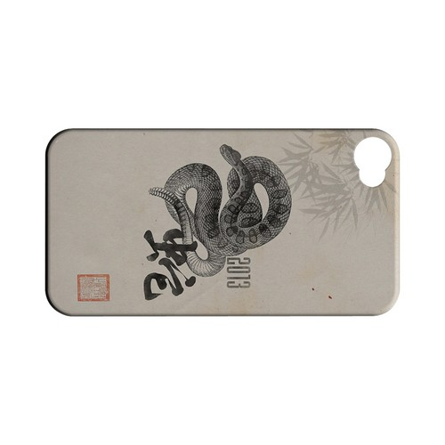 Snake on Parchment Geeks Designer Line Chinese Horoscope Series Matte Hard Case for Apple iPhone 4/4S