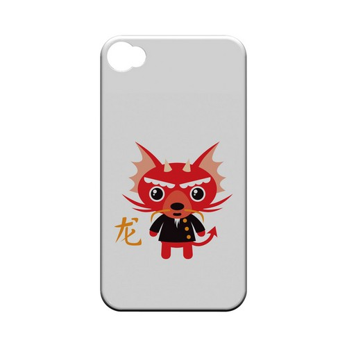 Dragon on White Geeks Designer Line Chinese Horoscope Series Matte Hard Case for Apple iPhone 4/4S