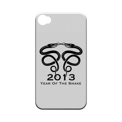 Dual Snake on White Geeks Designer Line Chinese Horoscope Series Matte Hard Case for Apple iPhone 4/4S