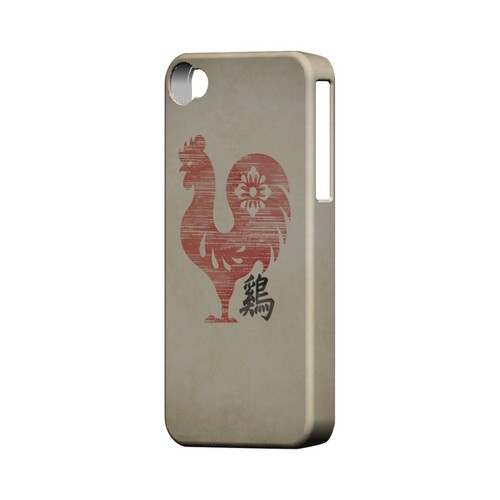 Grunge Rooster Geeks Designer Line Chinese Horoscope Series Matte Hard Case for Apple iPhone 4/4S