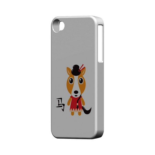 Horse on White Geeks Designer Line Chinese Horoscope Series Matte Hard Case for Apple iPhone 4/4S