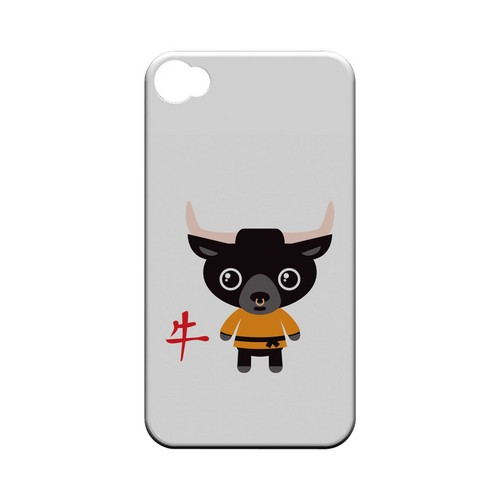 Ox on White Geeks Designer Line Chinese Horoscope Series Matte Hard Case for Apple iPhone 4/4S