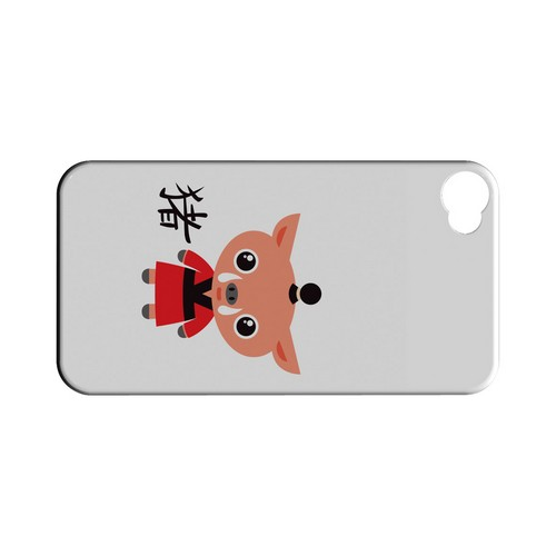Pig on White Geeks Designer Line Chinese Horoscope Series Matte Hard Case for Apple iPhone 4/4S