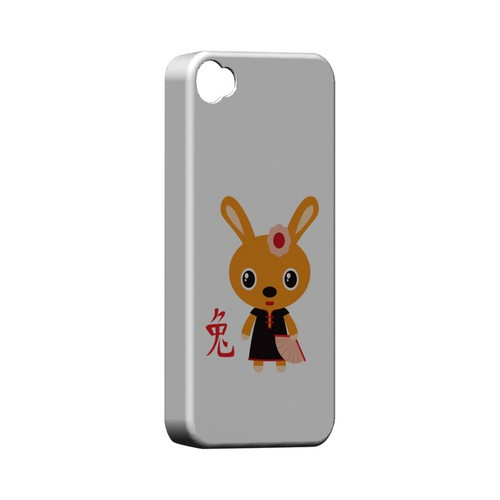 Rabbit on White Geeks Designer Line Chinese Horoscope Series Matte Hard Case for Apple iPhone 4/4S