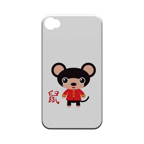 Rat on White Geeks Designer Line Chinese Horoscope Series Matte Hard Case for Apple iPhone 4/4S
