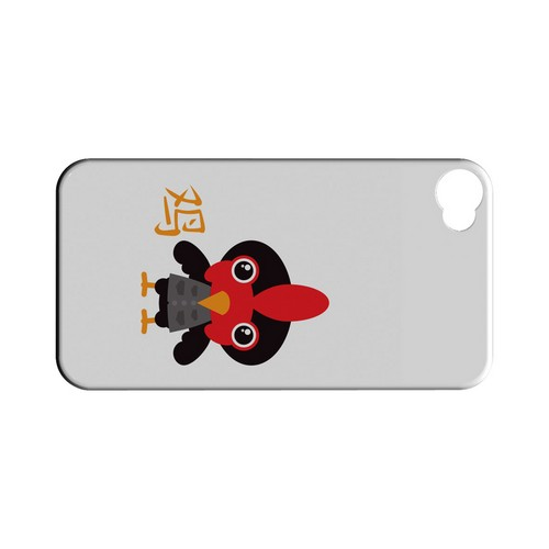 Rooster on White Geeks Designer Line Chinese Horoscope Series Matte Hard Case for Apple iPhone 4/4S
