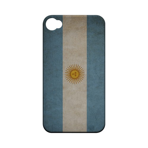 Grunge Argentina Geeks Designer Line Flag Series Matte Hard Case for Apple iPhone 4/4S