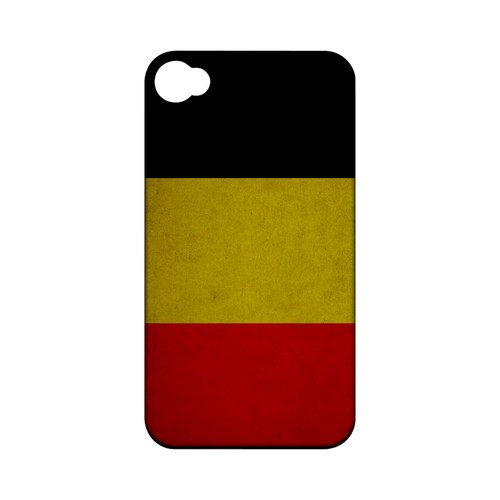 Grunge Belgium Geeks Designer Line Flag Series Matte Hard Case for Apple iPhone 4/4S