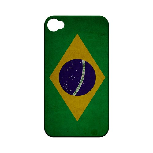 Grunge Brazil Geeks Designer Line Flag Series Matte Hard Case for Apple iPhone 4/4S