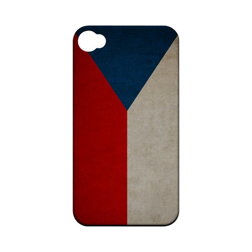 Grunge Czech Republic Geeks Designer Line Flag Series Matte Hard Case for Apple iPhone 4/4S