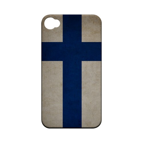 Grunge Finland Geeks Designer Line Flag Series Matte Hard Case for Apple iPhone 4/4S