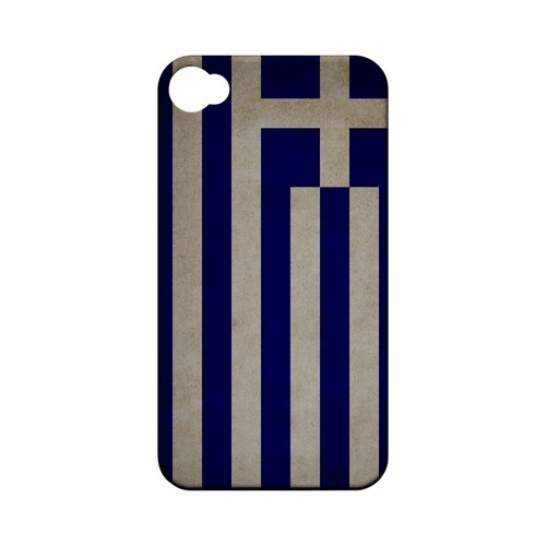 Grunge Greece Geeks Designer Line Flag Series Matte Hard Case for Apple iPhone 4/4S