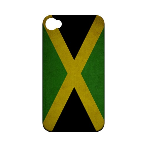 Grunge Jamaica Geeks Designer Line Flag Series Matte Hard Case for Apple iPhone 4/4S