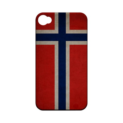 Grunge Norway Geeks Designer Line Flag Series Matte Hard Case for Apple iPhone 4/4S