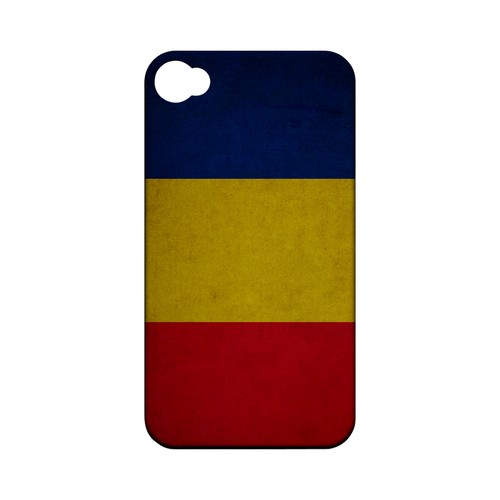 Grunge Romania Geeks Designer Line Flag Series Matte Hard Case for Apple iPhone 4/4S