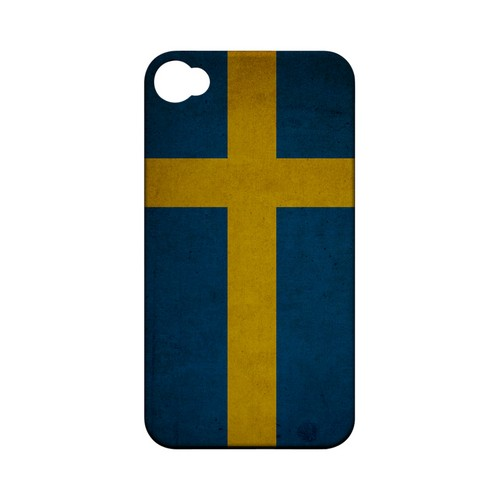 Grunge Sweden Geeks Designer Line Flag Series Matte Hard Case for Apple iPhone 4/4S