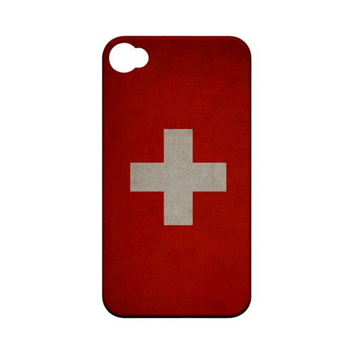 Grunge Switzerland Geeks Designer Line Flag Series Matte Hard Case for Apple iPhone 4/4S
