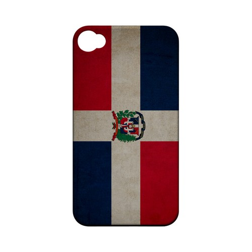 Grunge Dominican Republic Geeks Designer Line Flag Series Matte Hard Case for Apple iPhone 4/4S