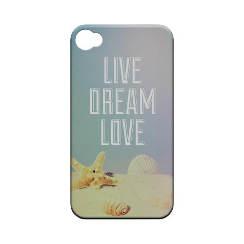 Live Dream Love Geeks Designer Line Beach Series Matte Hard Case for Apple iPhone 4/4S