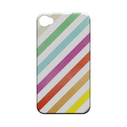 Dirty Diagonal Multi-Color - Geeks Designer Line Stripe Series Matte Case for Apple iPhone 4/4S