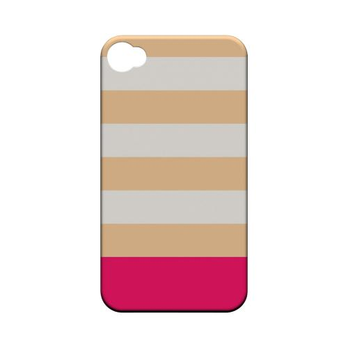 Pink Candy Stripes w/ Pink Bar - Geeks Designer Line Stripe Series Matte Case for Apple iPhone 4/4S