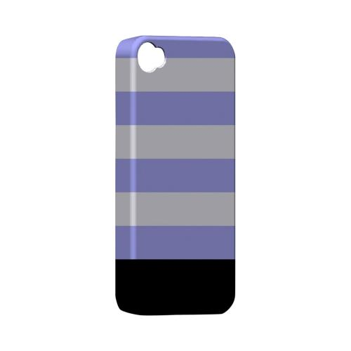 Purple Candy Stripes w/ Black Bar - Geeks Designer Line Stripe Series Matte Case for Apple iPhone 4/4S