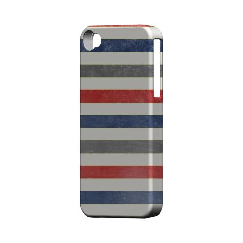 Stripey Blue/ Red - Geeks Designer Line Stripe Series Matte Case for Apple iPhone 4/4S