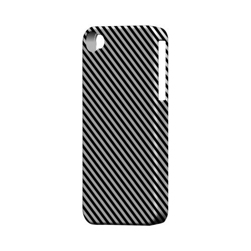 Thin Black/ White Diagonal - Geeks Designer Line Stripe Series Matte Case for Apple iPhone 4/4S