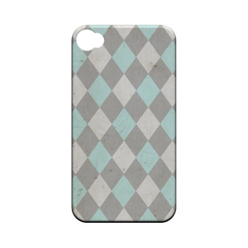 Grunge Pink/ Blue/ Gray Argyle - Geeks Designer Line Checker Series Matte Case for Apple iPhone 4/4S