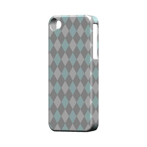 Pink/ Blue/ Gray Argyle - Geeks Designer Line Checker Series Matte Case for Apple iPhone 4/4S
