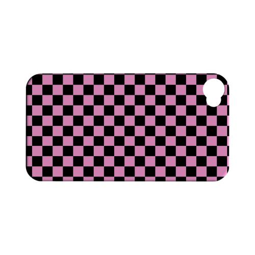 Pink/ Black - Geeks Designer Line Checker Series Matte Case for Apple iPhone 4/4S