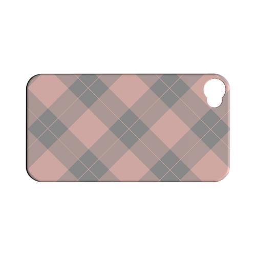 Pink/ Gray Simple Plaid - Geeks Designer Line Checker Series Matte Case for Apple iPhone 4/4S