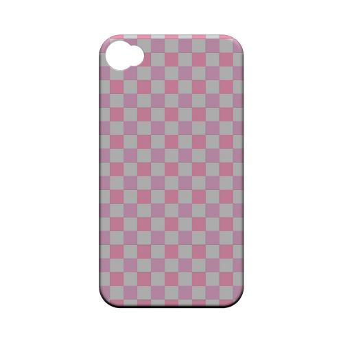 Pinkish - Geeks Designer Line Checker Series Matte Case for Apple iPhone 4/4S