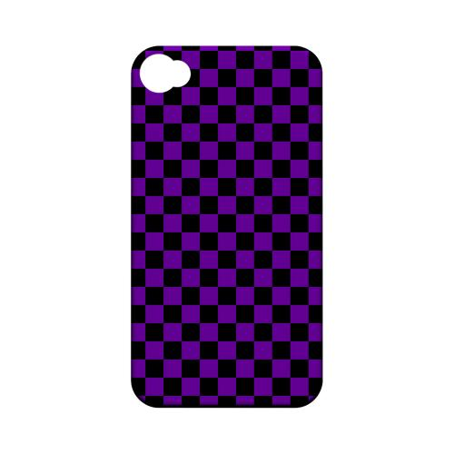 Purple/ Black - Geeks Designer Line Checker Series Matte Case for Apple iPhone 4/4S