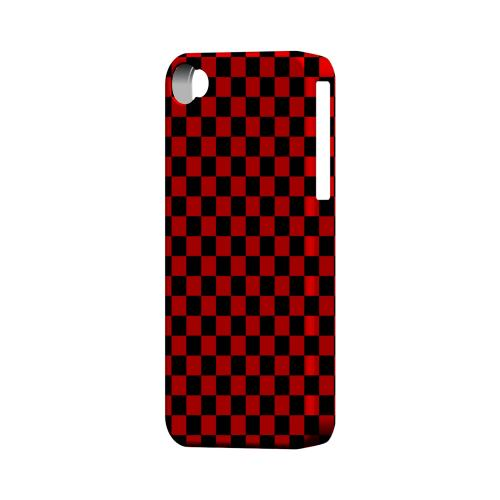 Red/ Black - Geeks Designer Line Checker Series Matte Case for Apple iPhone 4/4S