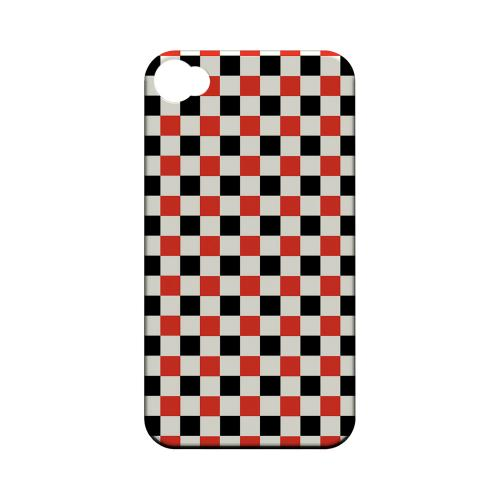 Red/ Black on Cream - Geeks Designer Line Checker Series Matte Case for Apple iPhone 4/4S