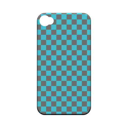 Teal/ Gray - Geeks Designer Line Checker Series Matte Case for Apple iPhone 4/4S