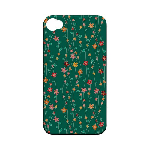 Flowers & Vines on Green - Geeks Designer Line Floral Series Matte Case for Apple iPhone 4/4S