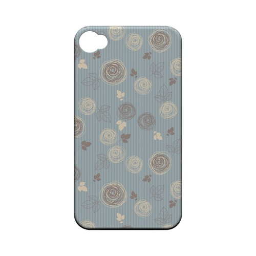 Leaves Scribble Blue/ Brown - Geeks Designer Line Floral Series Matte Case for Apple iPhone 4/4S