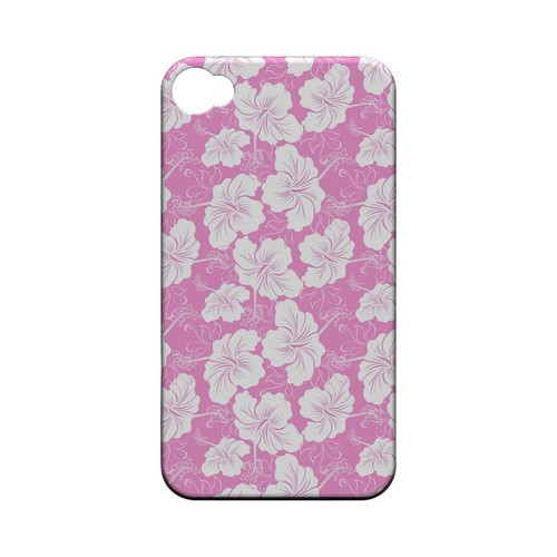 White Hibiscus on Pink - Geeks Designer Line Floral Series Matte Case for Apple iPhone 4/4S