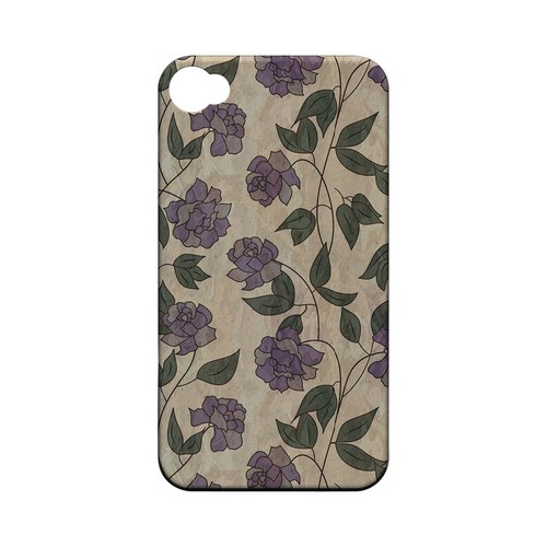 Purple Flowers & Vines Wallpaper - Geeks Designer Line Floral Series Matte Case for Apple iPhone 4/4S