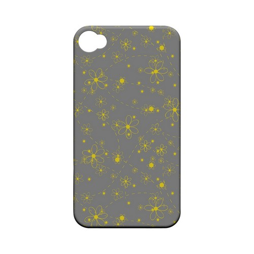 Yellow Daisies on Gray - Geeks Designer Line Floral Series Matte Case for Apple iPhone 4/4S
