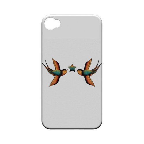 Dual Swallow Star on White - Geeks Designer Line Tattoo Series Matte Case for Apple iPhone 4/4S