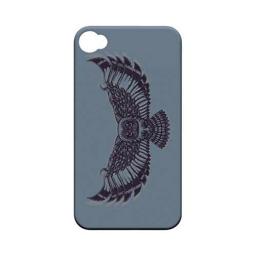 Flying Owl Blue/ Gray - Geeks Designer Line Tattoo Series Matte Case for Apple iPhone 4/4S